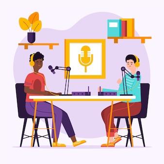 Concepto de podcast con personajes