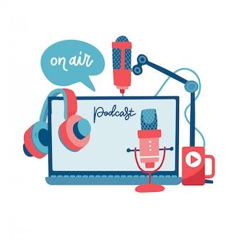 El concepto de podcast de señal de aire. grabe dispositivos de estudio: auriculares, micrófono, auriculares, computadora portátil. medios y entretenimiento. elementos de transmisión de noticias, radio y televisión. ilustración plana