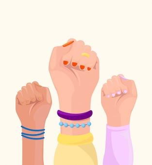 Concepto de poder femenino. puño femenino arriba.
