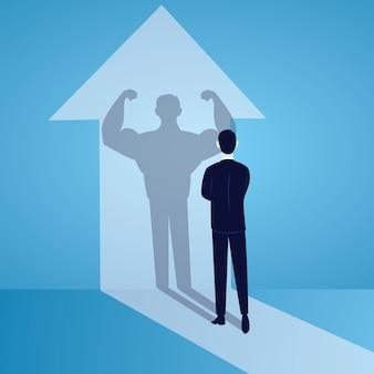 Concepto de poder de negocio. hombre de negocios fuerte fuerza interior