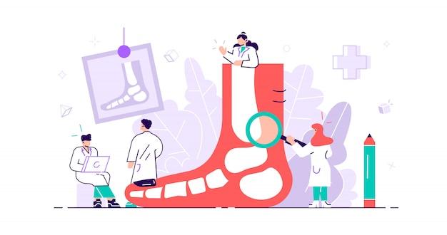 Concepto de podólogo. traumatismo en pies y pies, patología y tratamiento de molestias por enfermedad con examen, cirugía o procedimientos. pequeñas personas con enfermedades del pie, tobillo y extremidades inferiores. ilustración plana