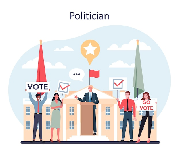 Concepto político. idea de elección y gobierno. gobernanza democrática. compagn poltico, elecciones, debate. ilustración plana aislada