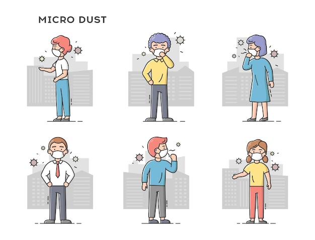 Concepto de polvo fino, contaminación del aire, smog industrial. conjunto de personas tristes con máscaras protectoras. hombres y mujeres en ciudades contaminadas.