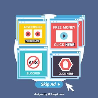 Concepto de pop up de ad block con diseño plano