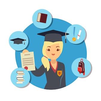 Concepto de posgrado con niña estudiante y escuela accesorios elemens