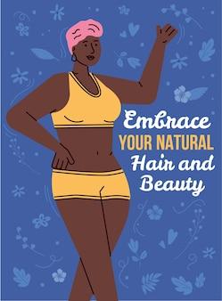 Concepto positivo del cuerpo. hermosa mujer afroamericana feliz