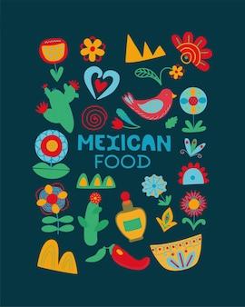 Concepto de postal de flores de cactus de méxico de estilo popular de fiesta nacional de comida mexicana