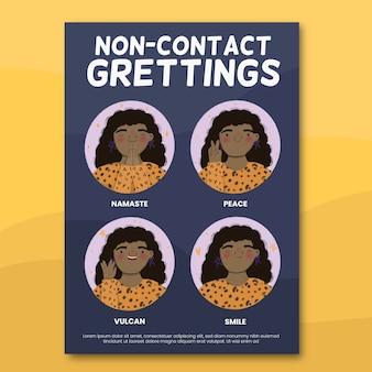 Concepto de póster de saludos sin contacto