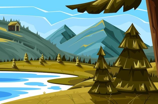 Concepto de prados de paisaje de panorama de bosque