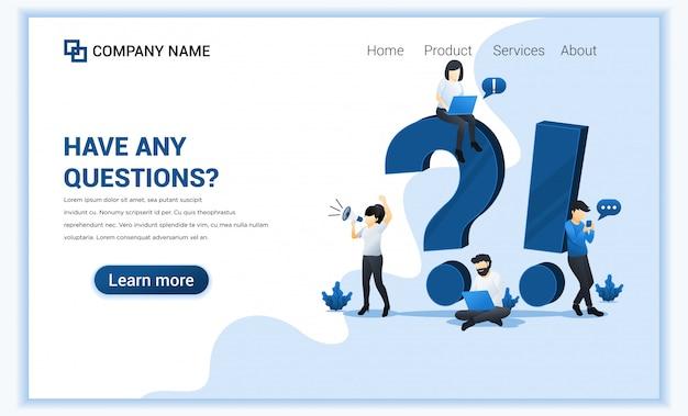 El concepto de pregunta frecuente con personas trabaja cerca del símbolo de exclamación grande y signo de interrogación.