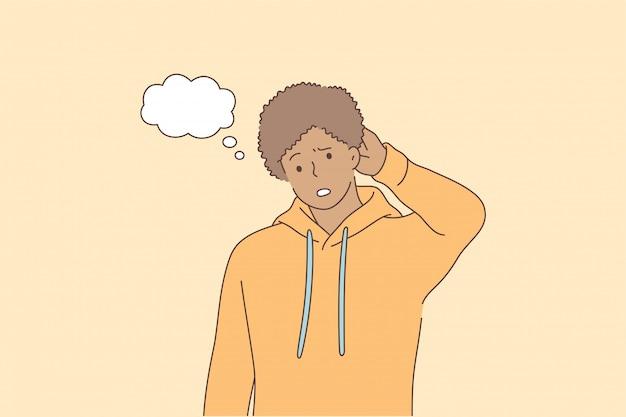 Concepto de pregunta de problema de pensamiento de expresión de cara de emoción.