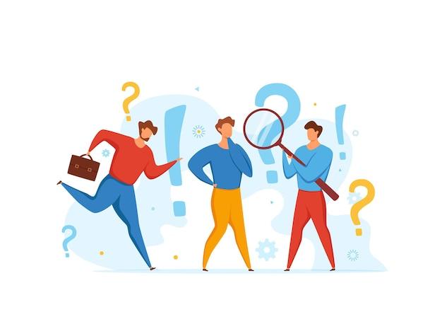 Concepto de preguntas frecuentes de hombres que miran con lupa en el punto de interrogación y el signo de interrogación.