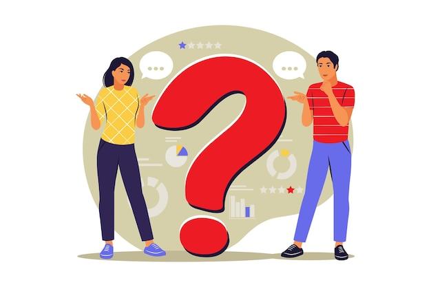 Concepto de preguntas. la gente hace preguntas frecuentes. preguntas más frecuentes. vector. plano