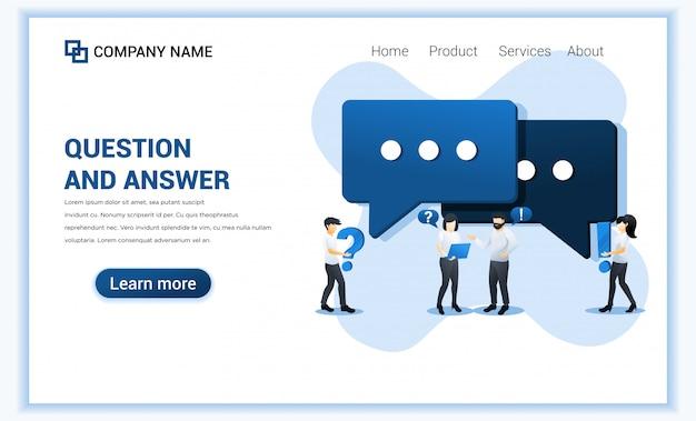 Concepto de preguntas y respuestas con personas que solicitan un centro de soporte en línea.