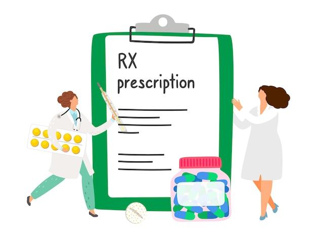 Concepto de prescripción rx. doctores y pastillas. ilustración de prescripción de vector rx, farmacéuticos de dibujos animados y medicamentos