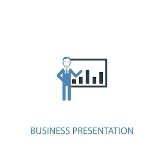 Concepto de presentación empresarial 2 icono de color. ilustración simple elemento azul. diseño de símbolo de concepto de presentación de negocios. se puede utilizar para ui / ux web y móvil