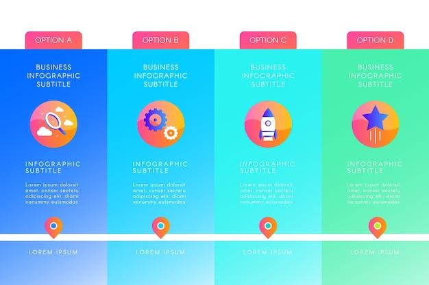 Concepto de presentación de infografía gradiente