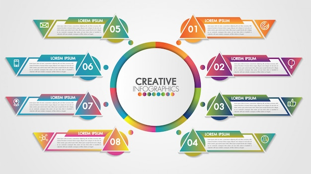 Concepto de presentación de vector de negocio de línea de tiempo de infografía con 8 pasos