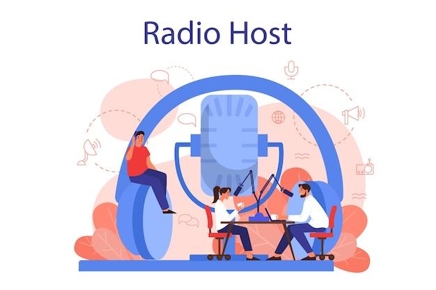Concepto de presentador de radio. idea de transmisión de noticias en el estudio. ocupación de dj. persona que habla por el micrófono. ilustración de vector aislado en estilo de dibujos animados