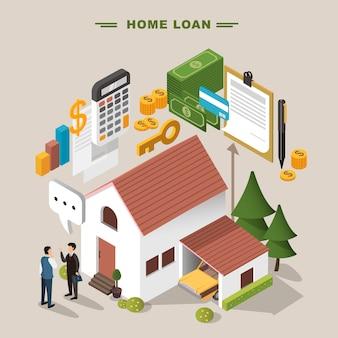 Concepto de préstamo hipotecario de diseño plano isométrico 3d