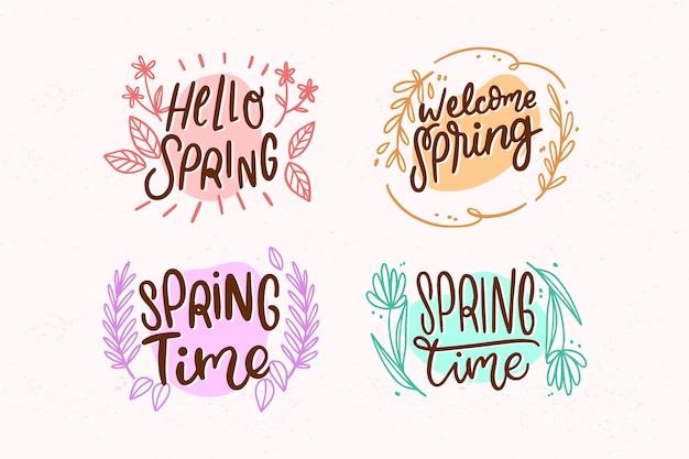Concepto de primavera para la colección de etiquetas