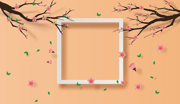 Concepto de primavera marco flor de cerezo