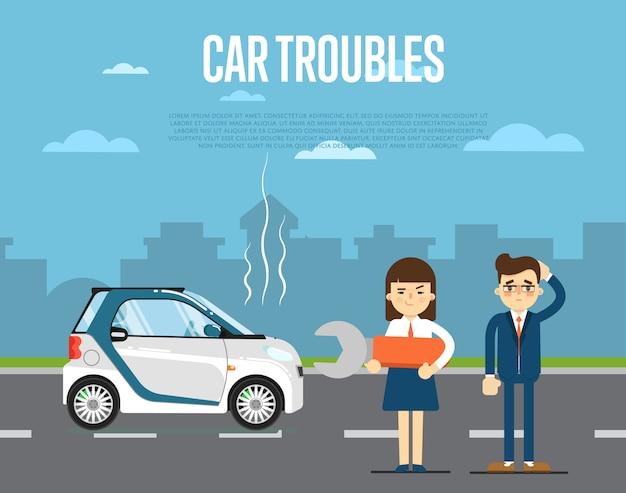 Concepto de problemas de coche con personas