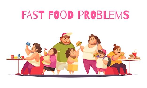 Concepto de problemas de comida rápida con símbolos de glotonería plana