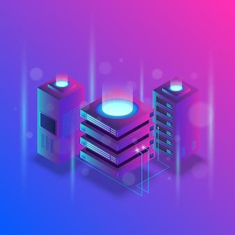 Concepto de procesamiento de big data, estación de energía del futuro, rack de sala de servidores, centro de datos isométrico.