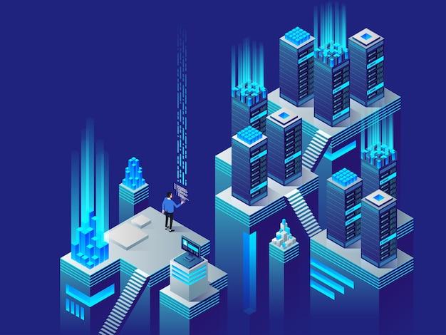 Concepto de procesamiento de big data, estación de energía del futuro, rack de sala de servidores, ilustración isométrica del centro de datos