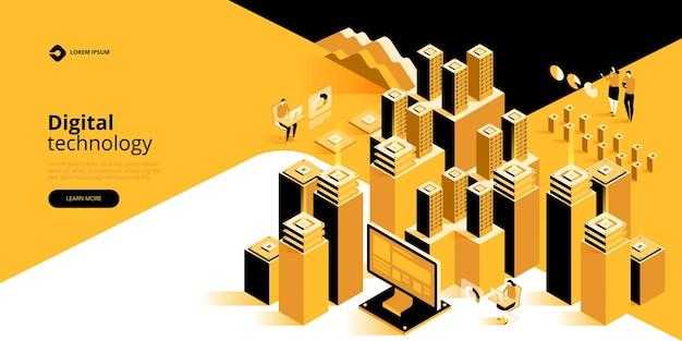 Concepto de procesamiento de datos grandes, ilustración isométrica del centro de datos.