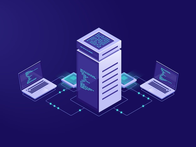 Concepto de procesamiento de datos grandes, sala de servidores, acceso a token de tecnología blockchain