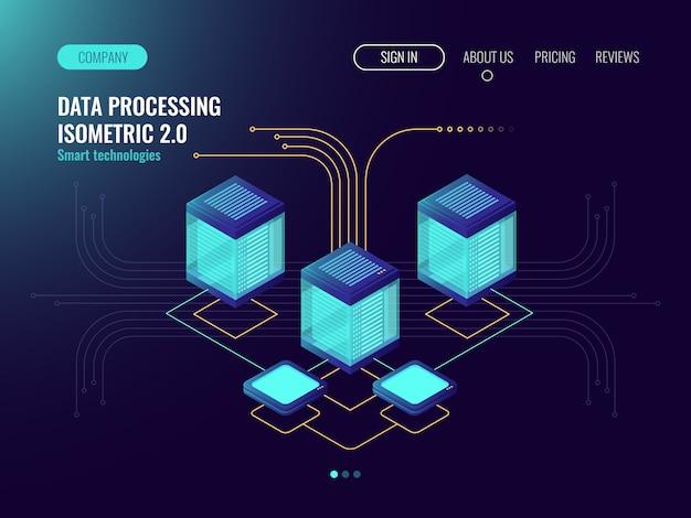 Concepto de procesamiento de datos, sala de servidores, concepto de alojamiento web, objetos de tecnología abstracta