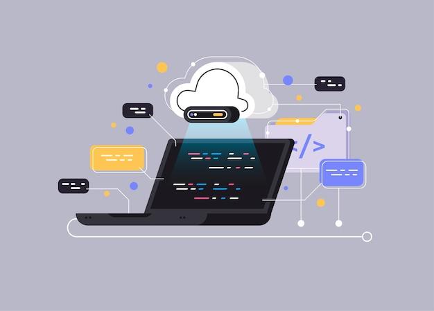 Concepto de procesamiento de flujo de datos grandes, base de datos en la nube.