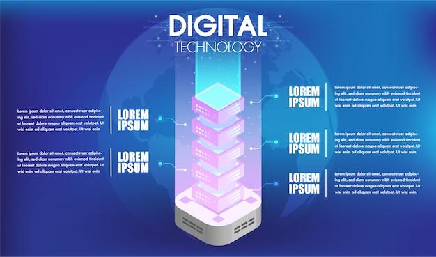 Concepto de procesamiento de tecnología de big data con 5 opciones o pasos de servidor de infografías.