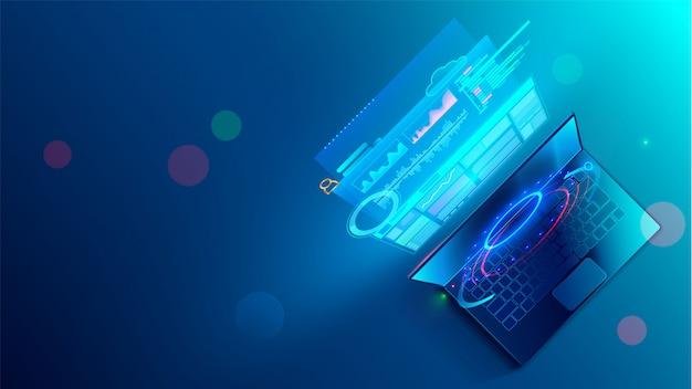 Concepto de proceso de codificación de desarrollo de software. programación, prueba de código multiplataforma