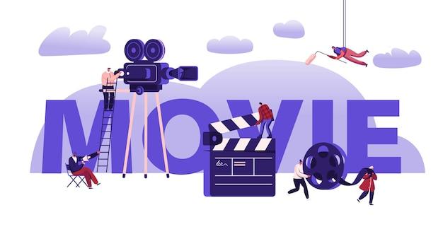 Concepto de proceso de creación de películas. ilustración plana de dibujos animados