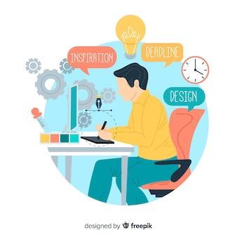 Concepto proceso creativo diseño gráfico