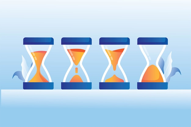 Concepto de proceso de cristal de hora de reloj de arena antiguo sprite