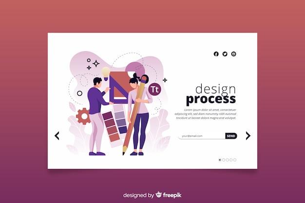 Concepto de proceso de diseño de página de aterrizaje