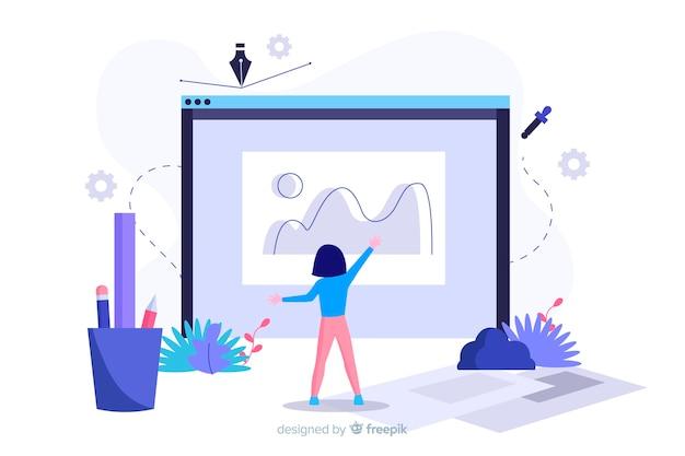 Concepto de proceso de diseño para página de inicio