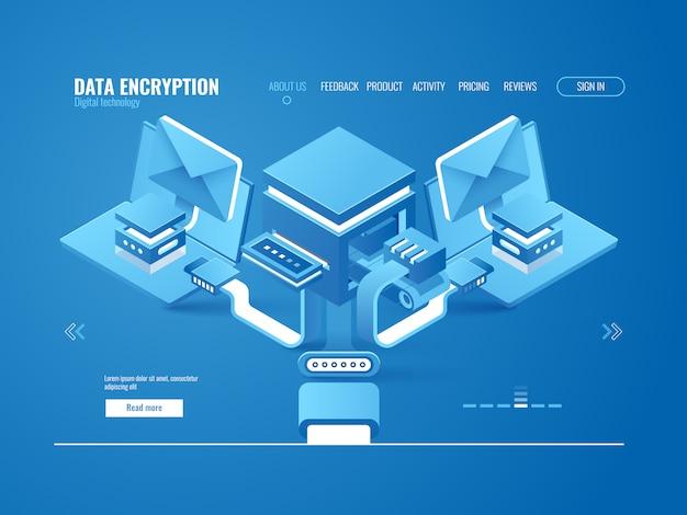 Concepto de proceso de encriptación de datos, fábrica de datos, envío automático de correos electrónicos y mensajes