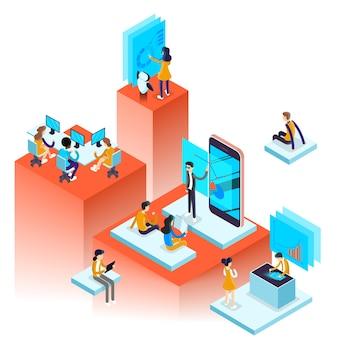 Concepto de proceso de trabajo. la gente de negocios trabaja en equipo