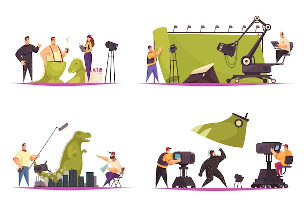 Concepto de producción cinematográfica de cine 4 composiciones planas cómicas con actor de rodaje en traje de dinosaurio
