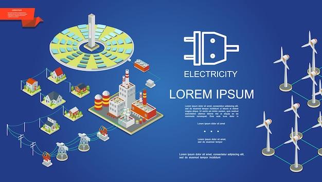 Concepto de producción de electricidad isométrica con paneles solares, planta de energía, transformadores eléctricos, torres de transmisión, casas, molinos de viento, ilustración