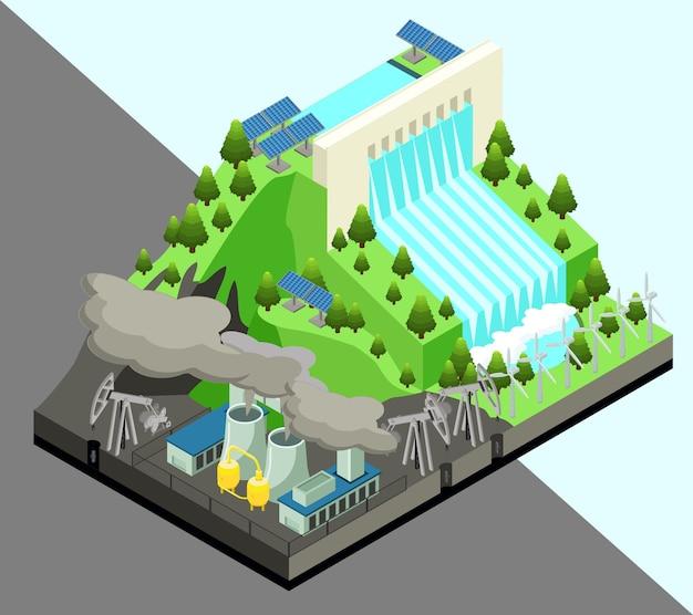 Concepto de producción de energía alternativa isométrica con molinos de viento, planta de energía nuclear y estación hidroeléctrica aislada