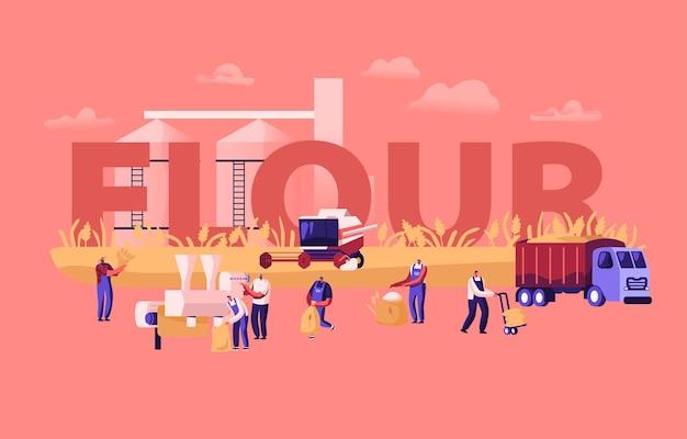 Concepto de producción de harina. proceso de fabricación de trigo, industria del pan. ilustración plana de dibujos animados