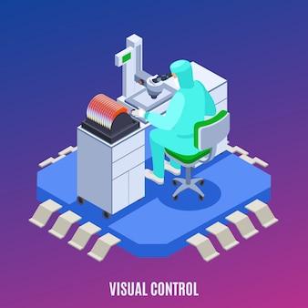 Concepto de producción de semiconductores con símbolos de control visual isométricos.