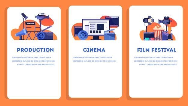 Concepto de producción de video o película. idea de rodaje de películas, industria cinematográfica. badajo y cámara, equipo para la realización de películas. ilustración. conjunto de banner web