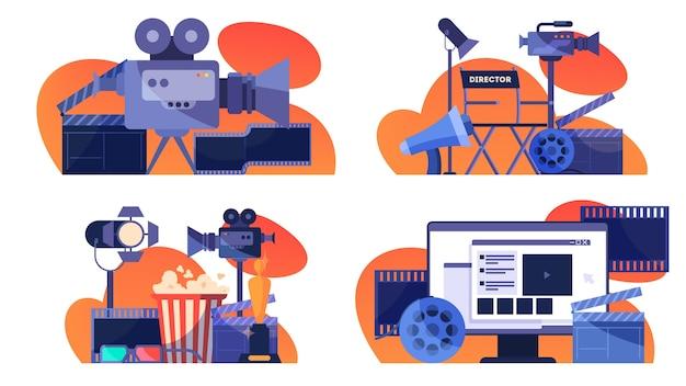 Concepto de producción de video o película. idea de rodaje de películas, industria cinematográfica. badajo y cámara, equipo para la realización de películas. ilustración